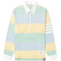 Thom Browne Oversized 4 Bar Rugby Shirt Blue