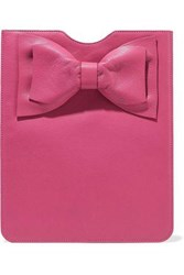Red V Bow Embellished Textured Leather Tablet Case Fuchsia