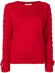 Michael Michael Kors Lace Up Jumper Red
