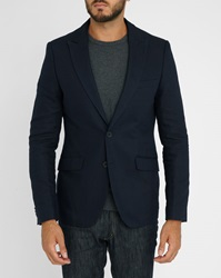 Scotch And Soda Blue Cotton Twill Linen Jacket