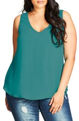 City Chic Plus Size Women's Date Night Top Peacock