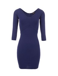 Morgan Knitted Ribbed Seam Patterned Dress Blue