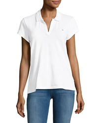Ck Calvin Klein Solid Cotton Blend Polo White