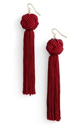 Vanessa Mooney Women's Astrid Drop Earrings Burgundy