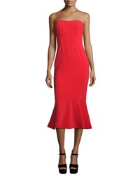 Cinq A Sept Luna Strapless Flounce Hem Dress Venetian Red