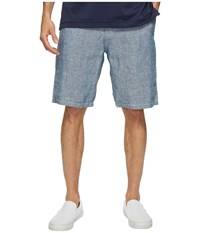 Lucky Brand Chambray Flat Front Shorts Chambray Men's Shorts White
