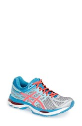 Women's Asics 'Gel Cumulus 17' Running Shoe Silver Hot Pink Turquoise