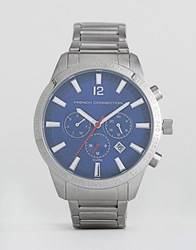 French Connection Stainless Steel Watch With Blue Dial Silver
