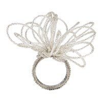 Amara Beaded Flower Napkin Rings Set Of 4 Silver