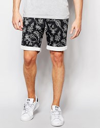 Bellfield Shorts With All Over Botanical Print Black