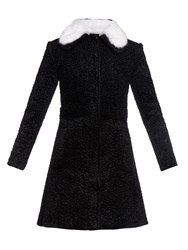 Carven Rabbit Fur Collar Textured Coat