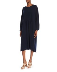 Eskandar Long Sleeve Cashmere Dress Navy