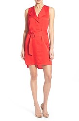 Trouve Women's Trouve Belted Sleeveless Dress Red Bloom