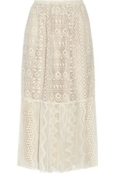Anna Sui Silk Georgette Paneled Lace Skirt