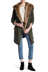 Bb Dakota Faux Fur Trim Drape Coat Green