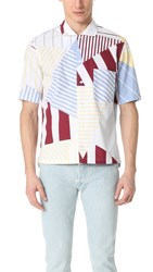 Maison Kitsune Allover Patches Short Sleeve Button Down Shirt Burgundy Print
