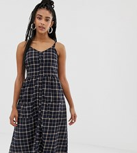 Daisy Street Button Front Midi Dress In Grid Check Navy