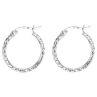 Ibb 9Ct White Gold Diamond Cut Creole Hoop Earrings White Gold
