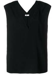 Mauro Grifoni Buttoned V Neck Tank Top Black
