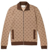Gucci Logo Jacquard Wool And Cotton Blend Track Jacket Camel