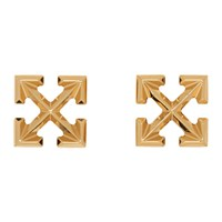 Off White Gold Small Arrow Earrings