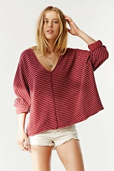Truly Madly Deeply V Neck Dolman Sleeve Top Maroon