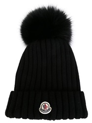 Moncler Bobble Top Beanie Black
