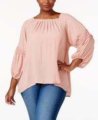 Eyeshadow Trendy Plus Size Pleated Peasant Top Shimmer
