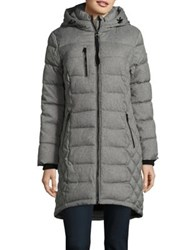 Guess Zip Front Hooded Puffer Coat Black