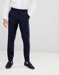 French Connection Slim Fit Peak Collar Tuxedo Trousers Navy