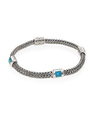John Hardy Classic Chain Extra Small Turquoise And Sterling Silver Four Station Bracelet Silver Turquoise