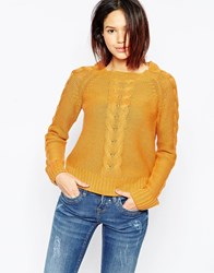 Blend She Funnel Neck Pull Over In Gold Mood Gold