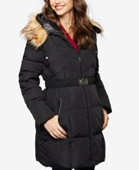 A Pea In The Pod Maternity Belted Quilted Puffer Coat Black