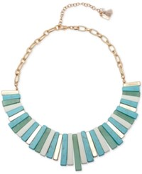 Lonna And Lilly Gold Tone Stone Metal Bar Statement Necklace