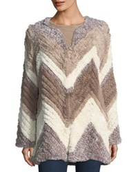 Bagatelle Chevron Knitted Faux Fur Jacket Taupe