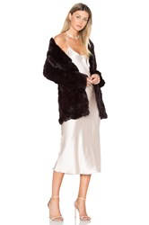 Adrienne Landau Rabbit Fur Coat Burgundy