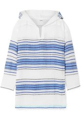 Lemlem Welela Fringed Striped Cotton Blend Gauze Hoodie Blue