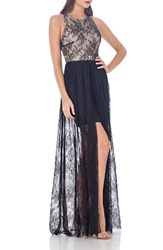 Js Collections Women's Jersey And Lace Peekaboo Gown