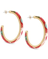 Lucky Brand Gold Tone Multicolor Fabric Hoop Earrings