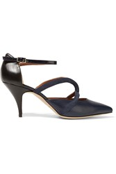 Malone Souliers Veronica Suede Smooth And Patent Leather Pumps Blue