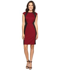 Christin Michaels Savannah Knit Sheath Dress Wine Black Women's Dress Burgundy