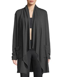 Beyond Yoga Everyday Draped Open Front Cardigan Charcoal
