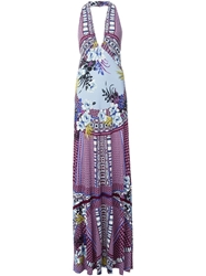 Etro Floral Print Halter Dress Pink And Purple