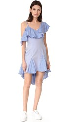 One By Unitedwood Daria Off Shoulder Ruffle Dress Navy White