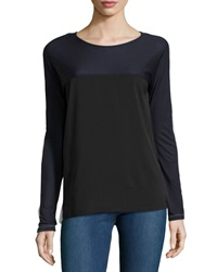 French Connection Long Sleeve Colorblock Top Black White Blue