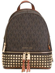 Michael Michael Kors Logo Backpack Brown