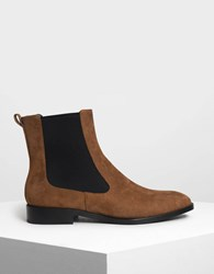 Charles And Keith Classic Chelsea Boots Cognac