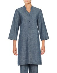 Eileen Fisher V Neck Hemp And Organic Cotton Tunic Denim