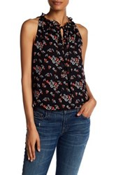 Max Studio Sleeveless Print Bubble Hem Blouse Black
