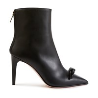 Red Valentino Bow Leather Ankle Boots Nero Black